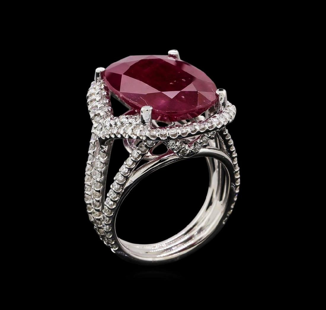 GIA Cert 12.23 ctw Ruby and Diamond Ring - 14KT White - 4