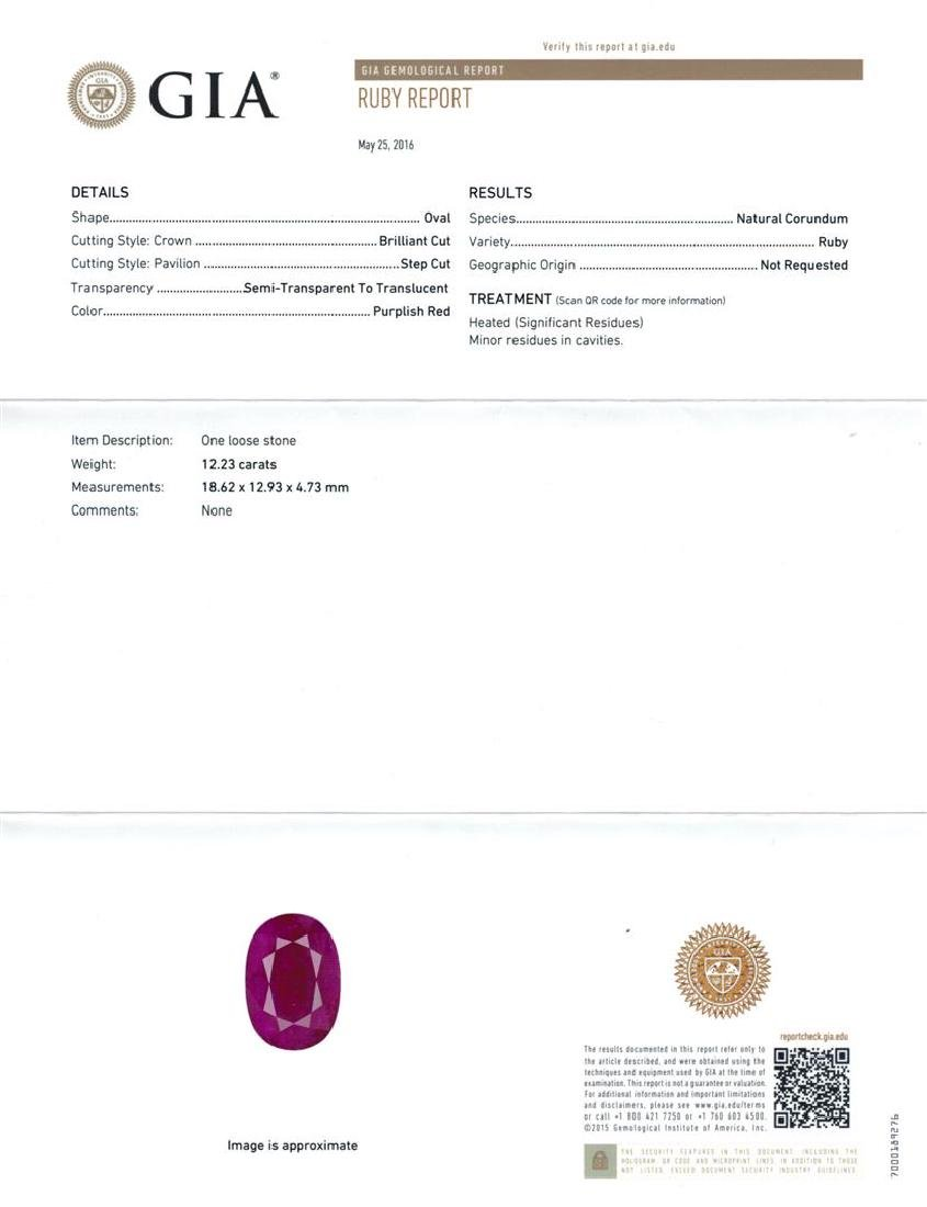 GIA Cert 12.23 ctw Ruby and Diamond Ring - 14KT White - 6