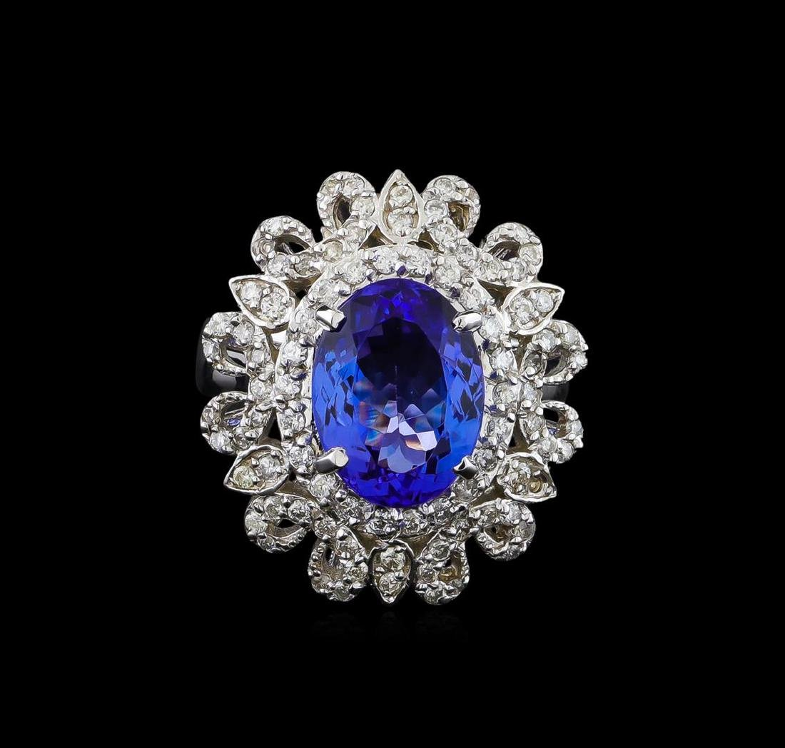 4.13 ctw Tanzanite and Diamond Ring - 14KT White Gold - 2