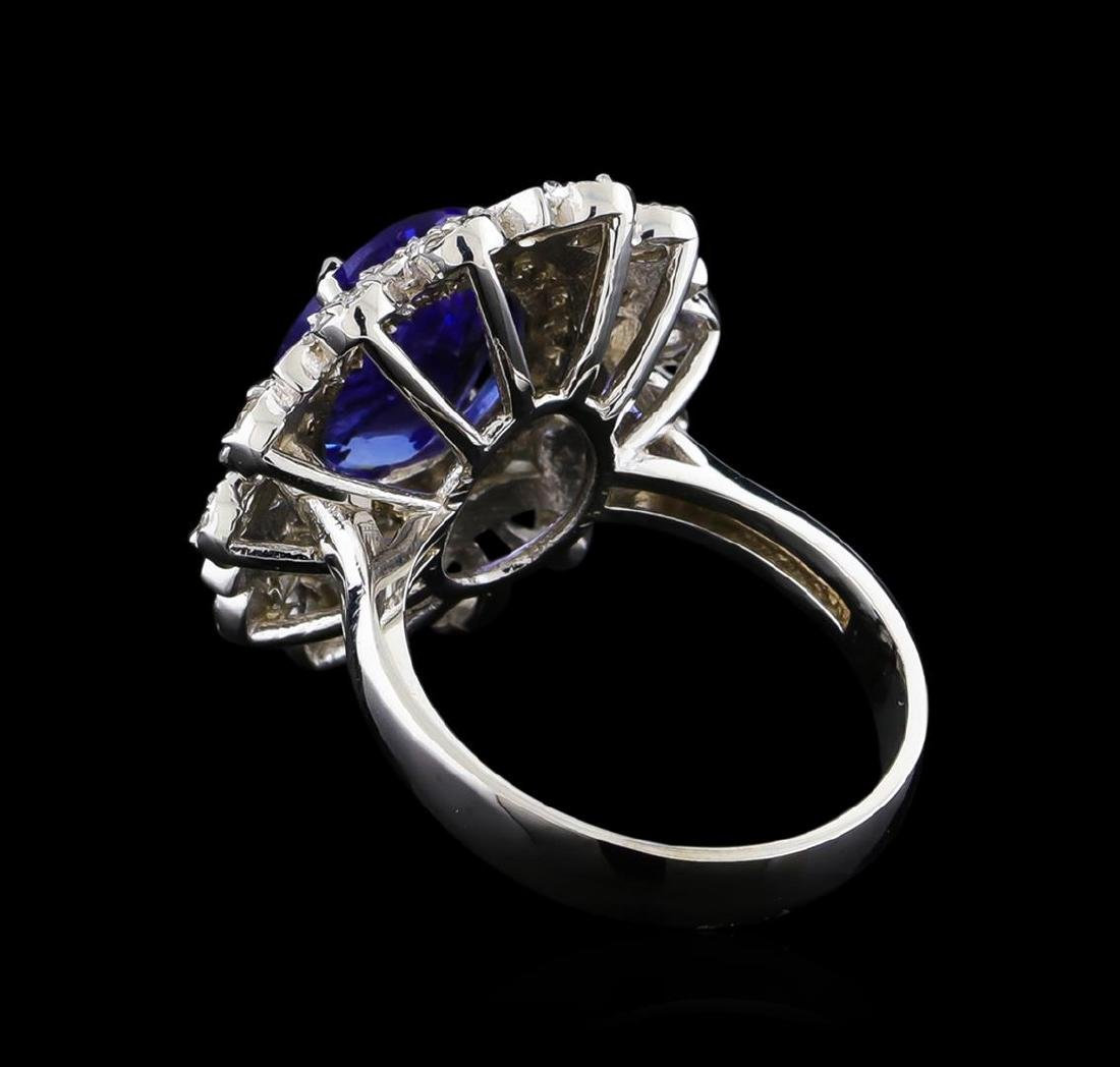 4.13 ctw Tanzanite and Diamond Ring - 14KT White Gold - 3