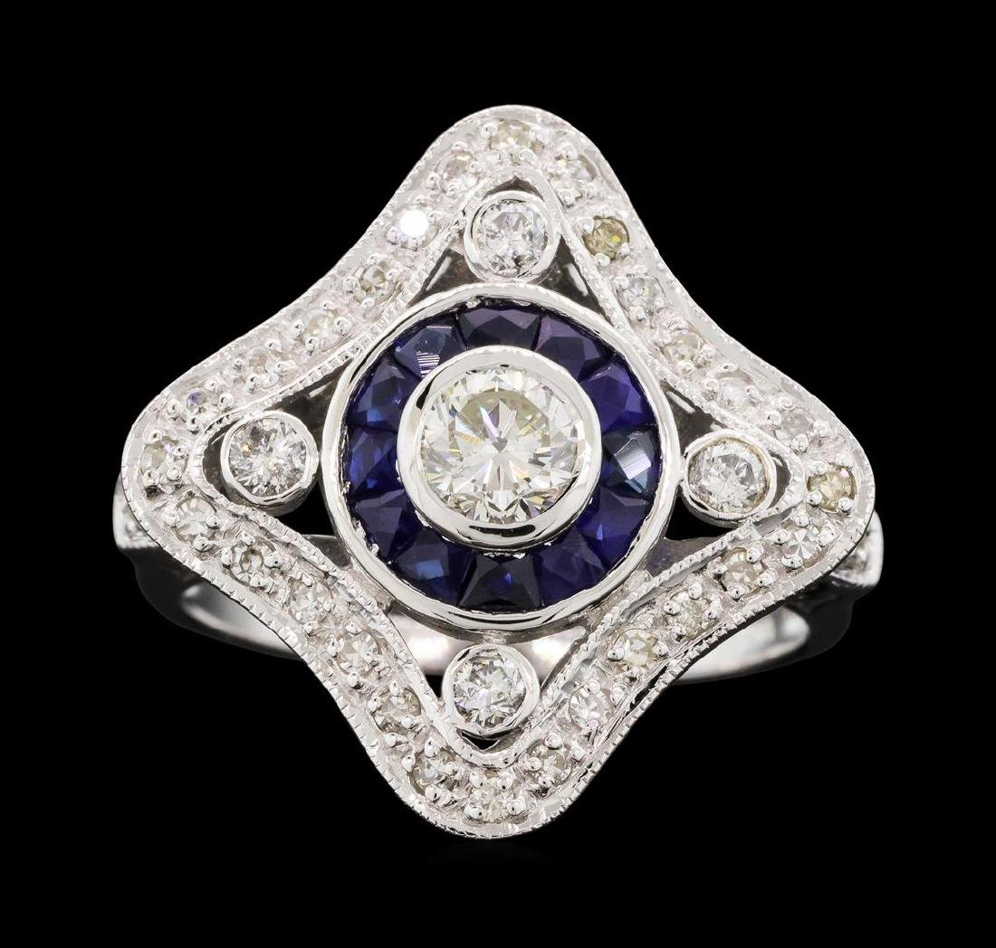 0.76 ctw Diamond Ring And Sapphire Ring- 18KT White - 2