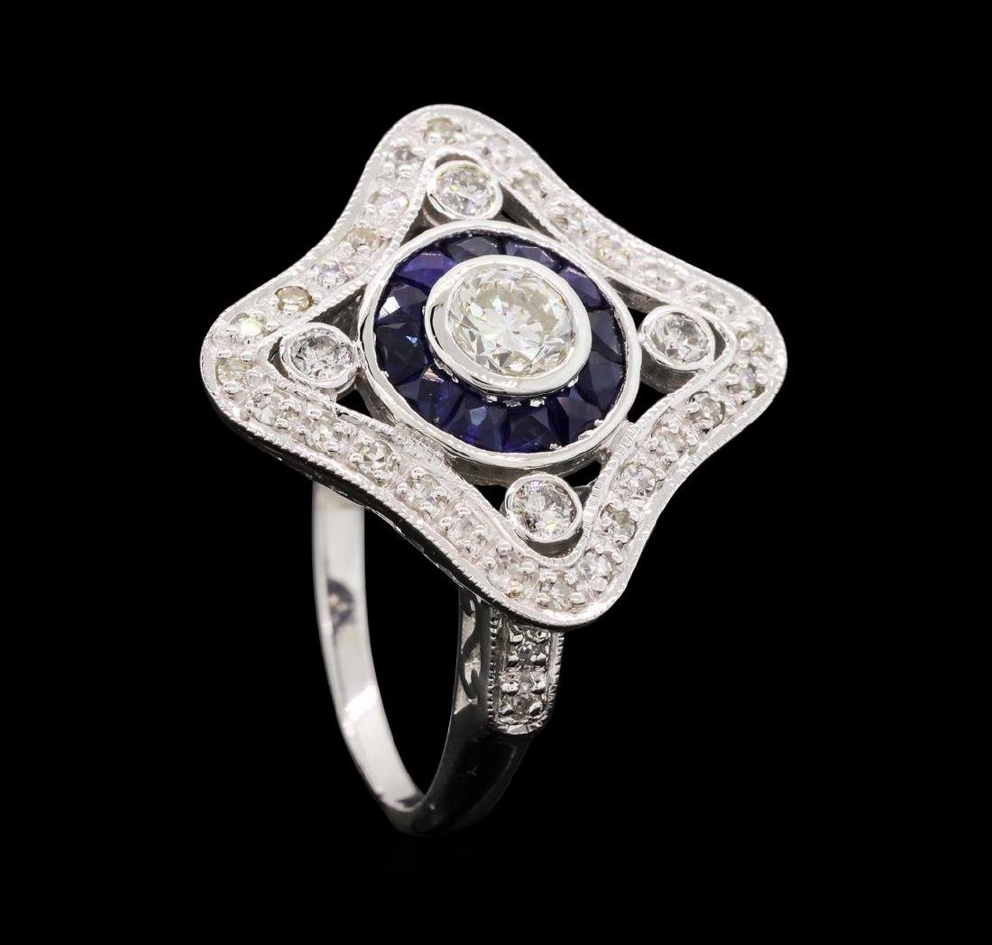 0.76 ctw Diamond Ring And Sapphire Ring- 18KT White - 4
