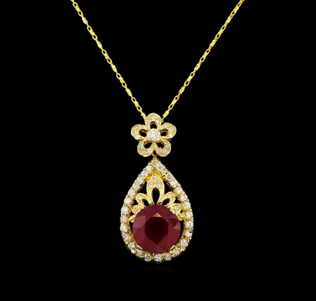 14KT Yellow Gold 5.06 ctw Ruby and Diamond Pendant With