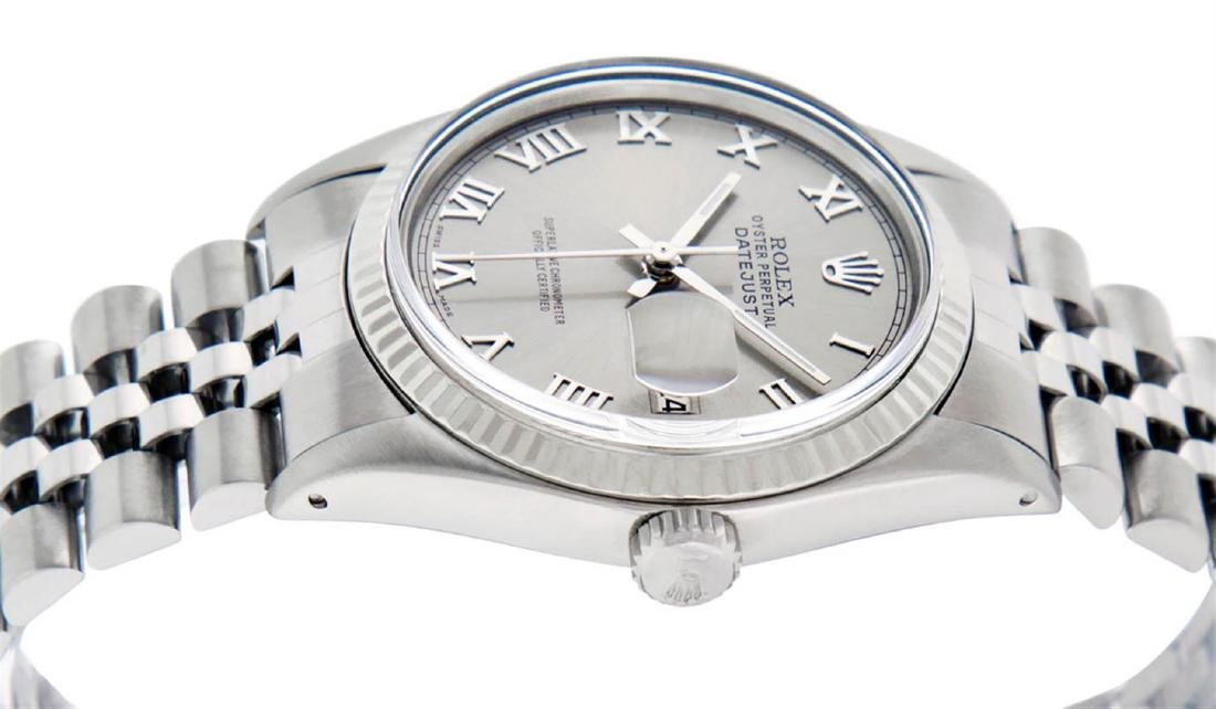 Rolex Mens Stainless Steel 36MM Slate Grey Roman - 6