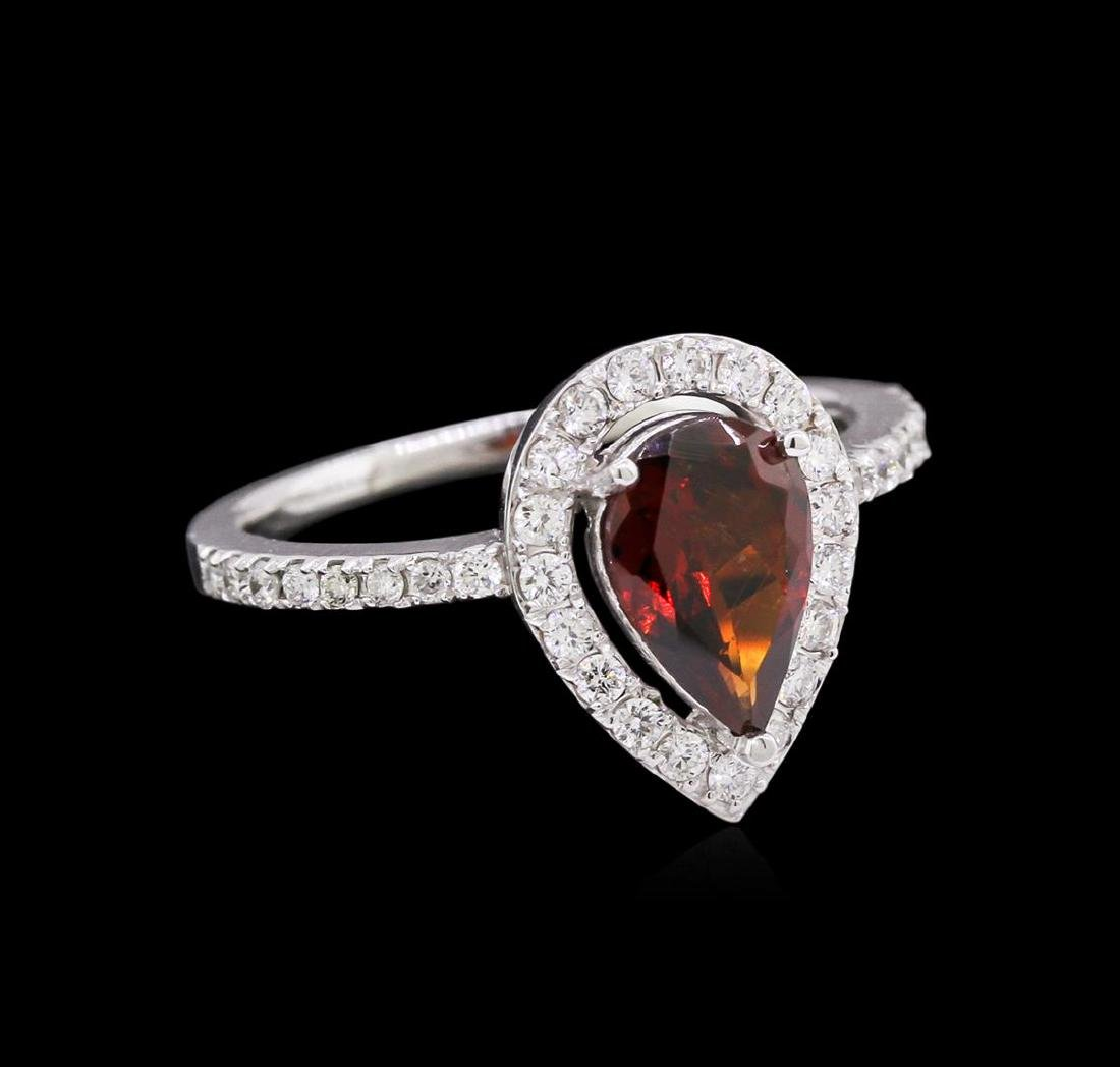 1.35 ctw Tourmaline and Diamond Ring - 14KT White Gold
