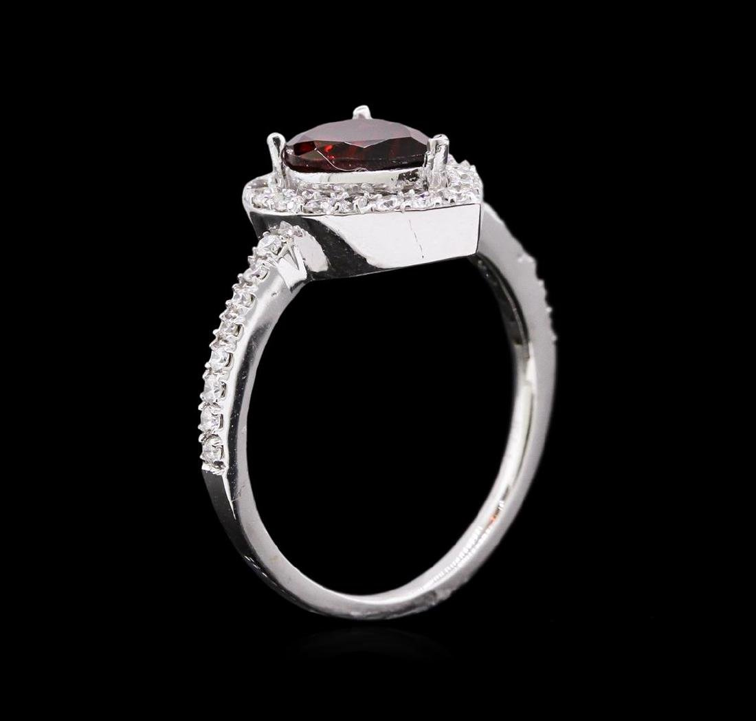 1.35 ctw Tourmaline and Diamond Ring - 14KT White Gold - 3