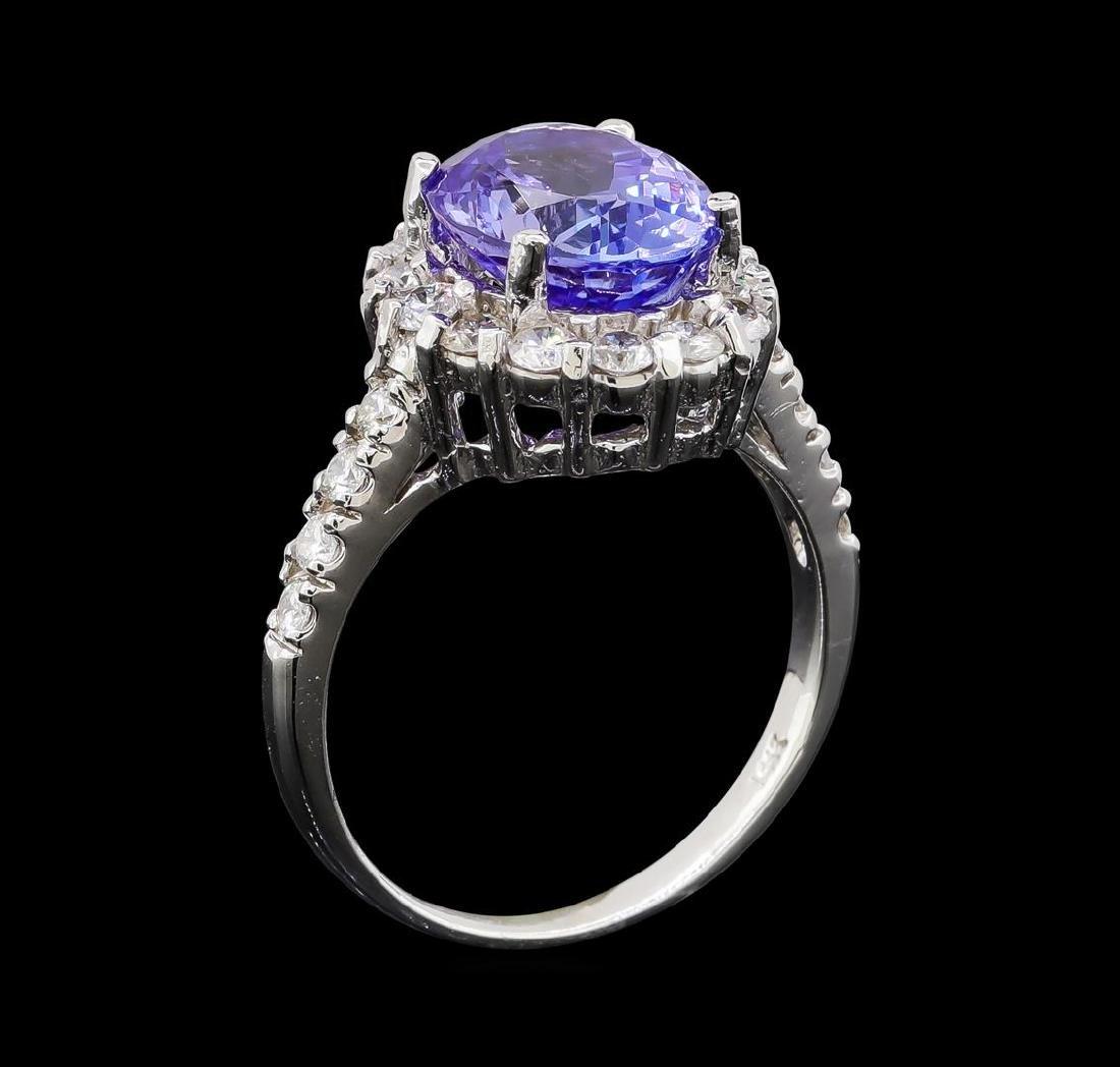 3.85 ctw Tanzanite and Diamond Ring - 14KT White Gold - 3