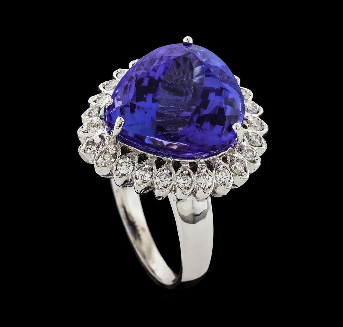 GIA Cert 13.48 ctw Tanzanite and Diamond Ring - 14KT - 4