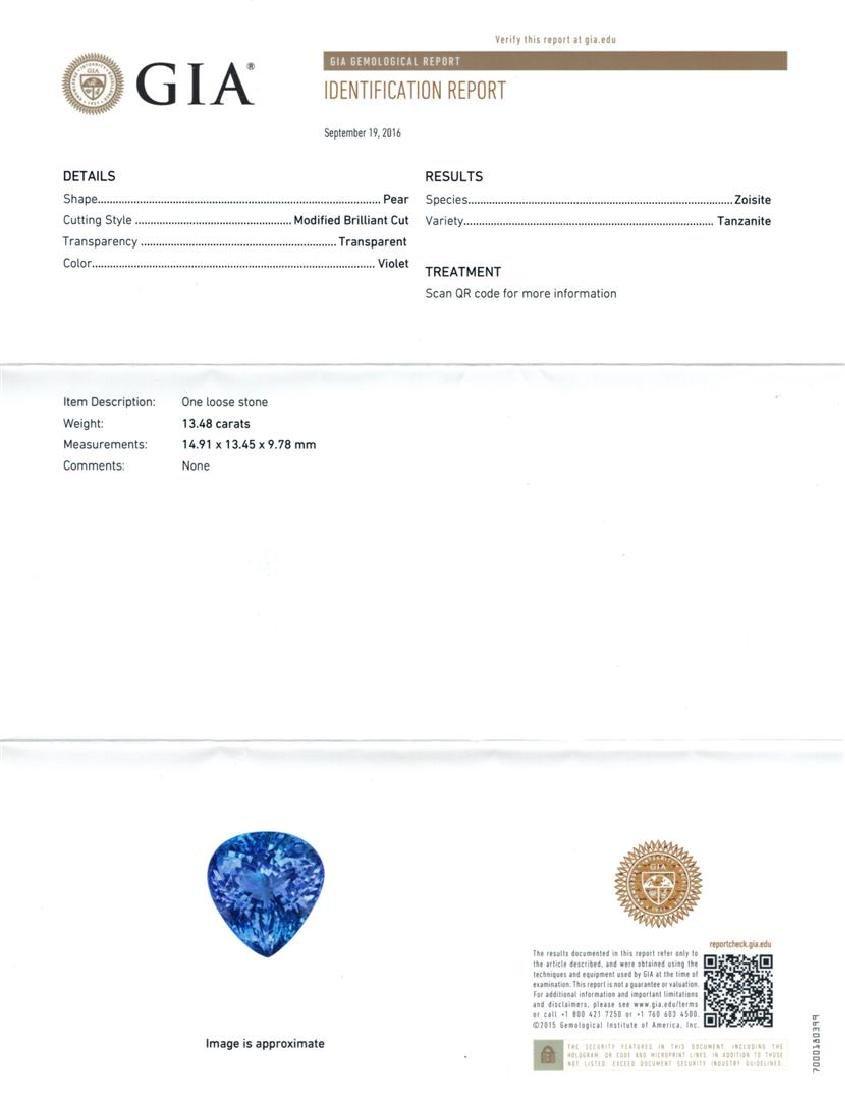 GIA Cert 13.48 ctw Tanzanite and Diamond Ring - 14KT - 6