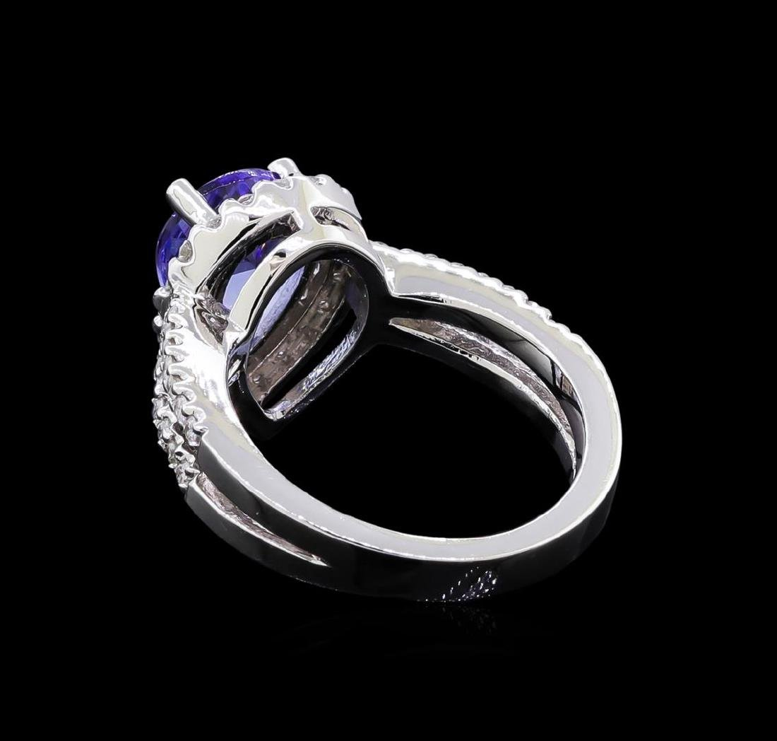 1.97 ctw Tanzanite and Diamond Ring - 14KT White Gold - 3