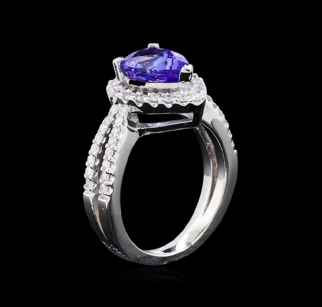 1.97 ctw Tanzanite and Diamond Ring - 14KT White Gold - 4