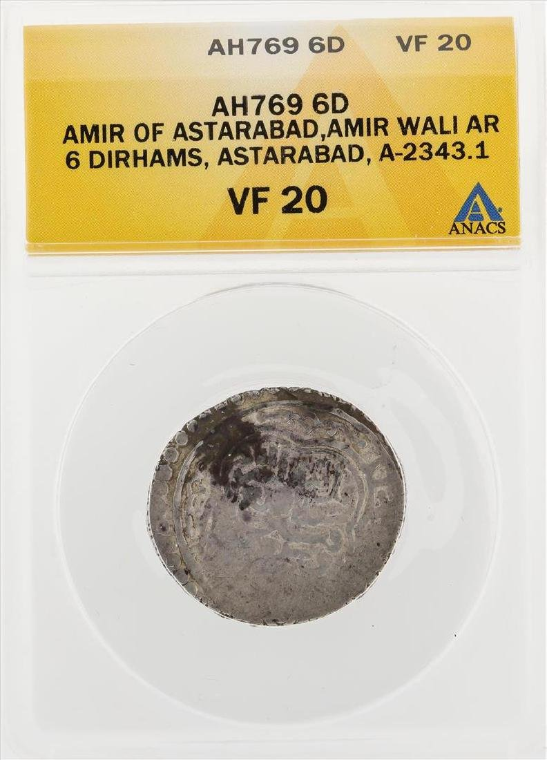 AH769 6D Amir of Astarabad Amir Wali AR 6 Dirhams