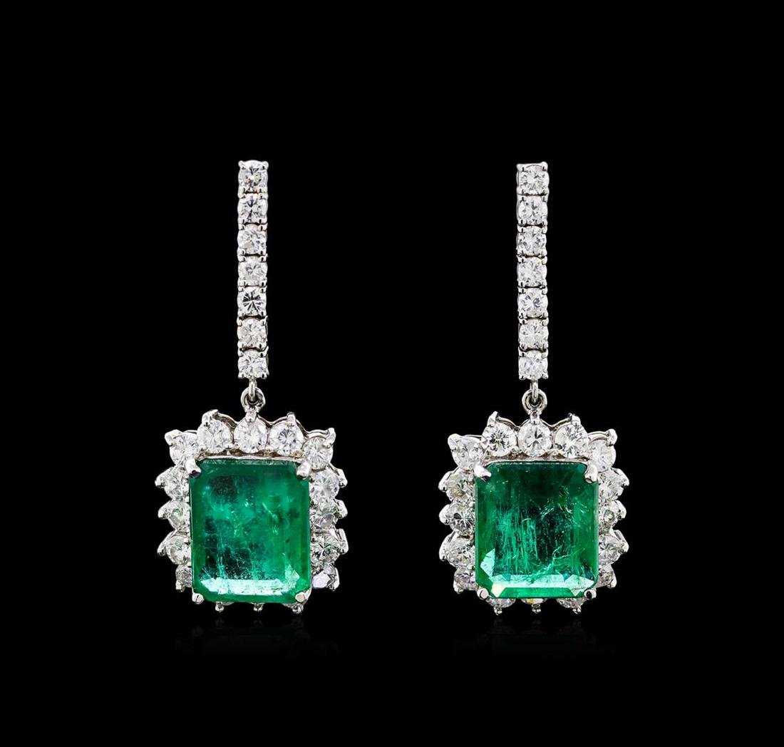 18.16 ctw Emerald and Diamond Earrings - 18KT White
