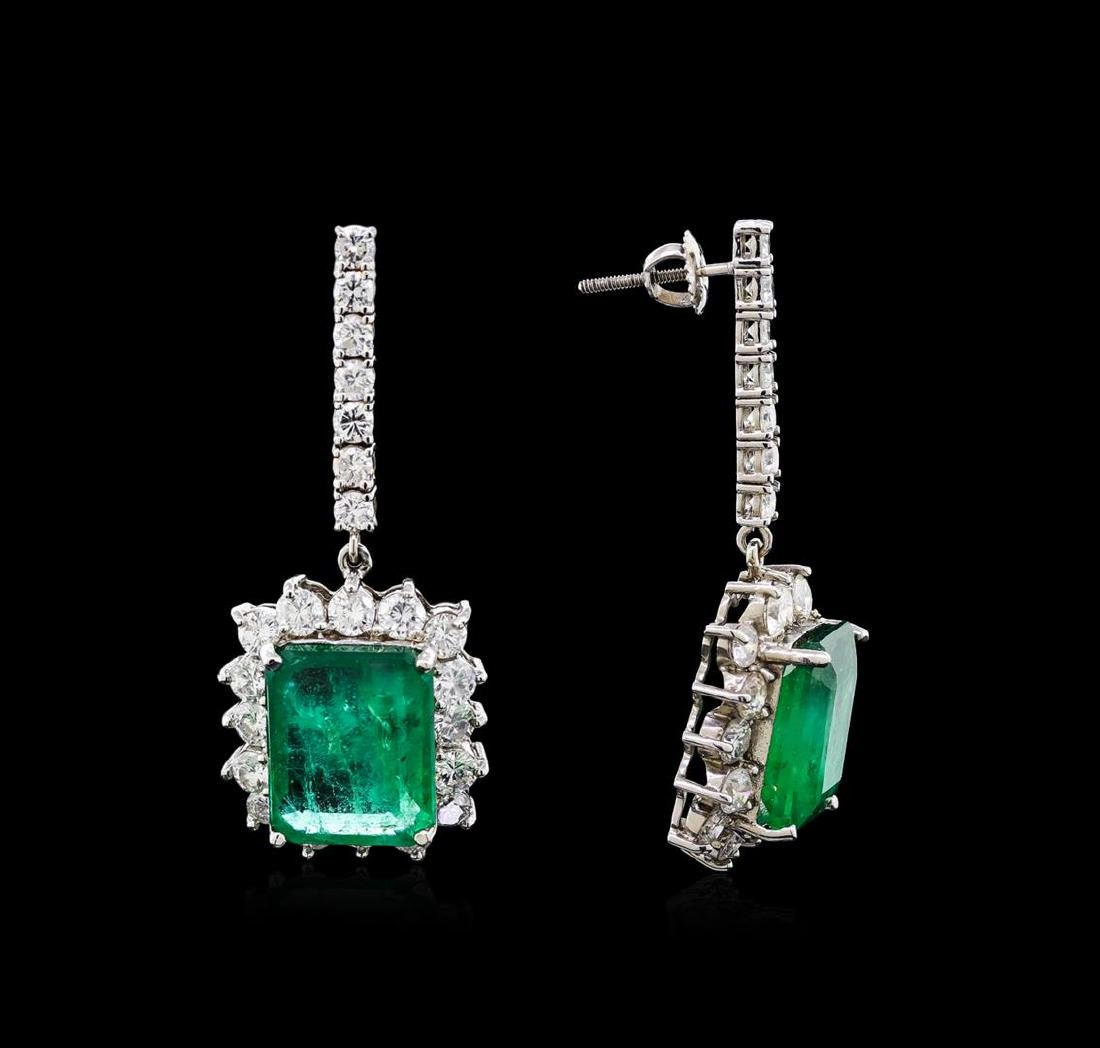 18.16 ctw Emerald and Diamond Earrings - 18KT White - 2