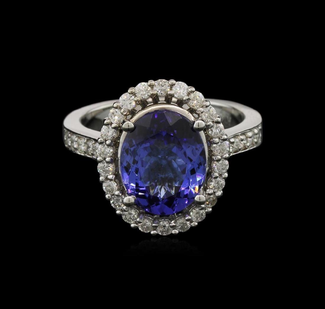 3.73 ctw Tanzanite and Diamond Ring - 14KT White Gold - 2