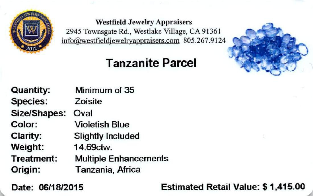 14.69 ctw Oval Mixed Tanzanite Parcel - 2