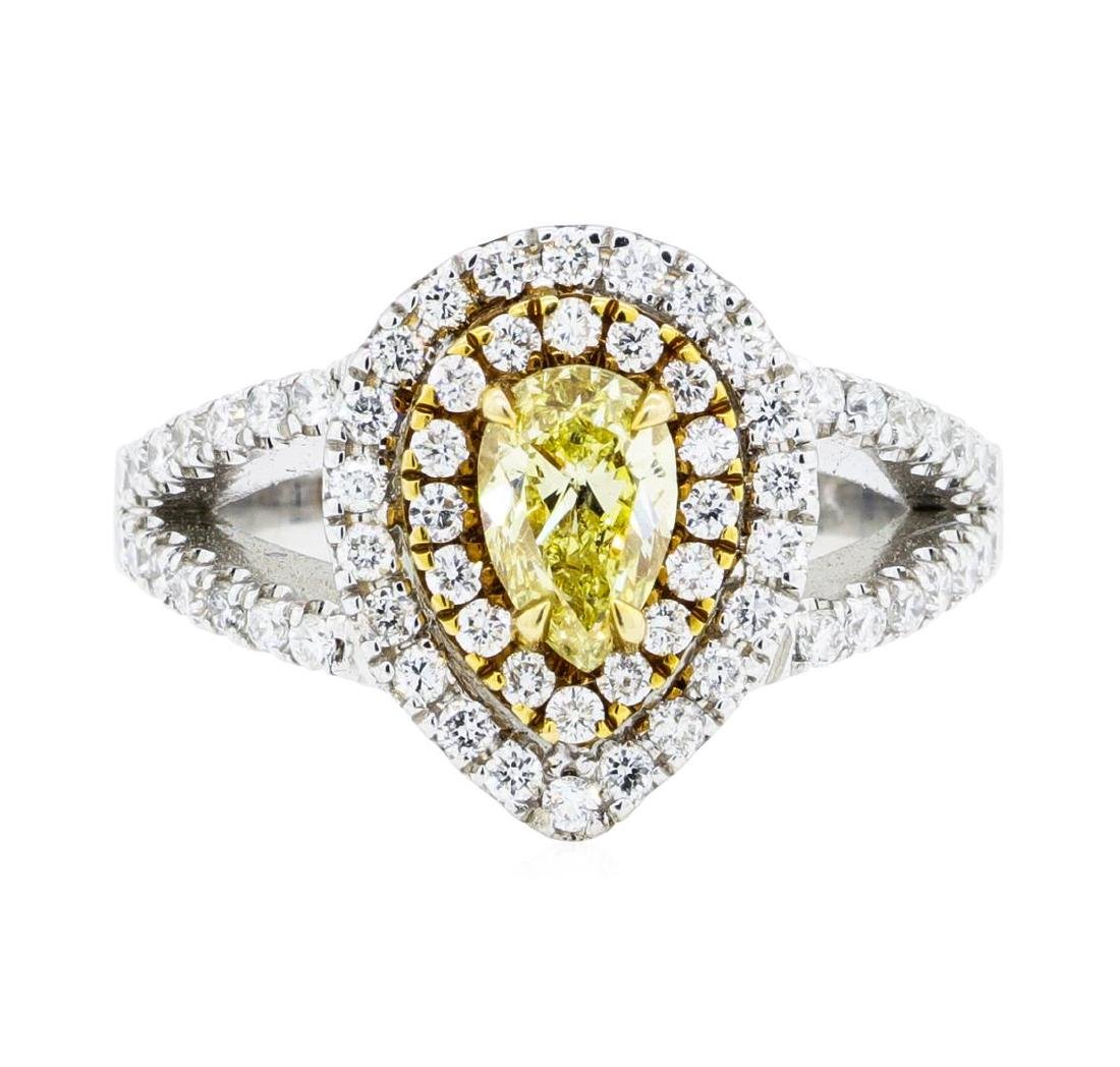 1.31 ctw Yellow and White Diamond Ring - 14KT White And
