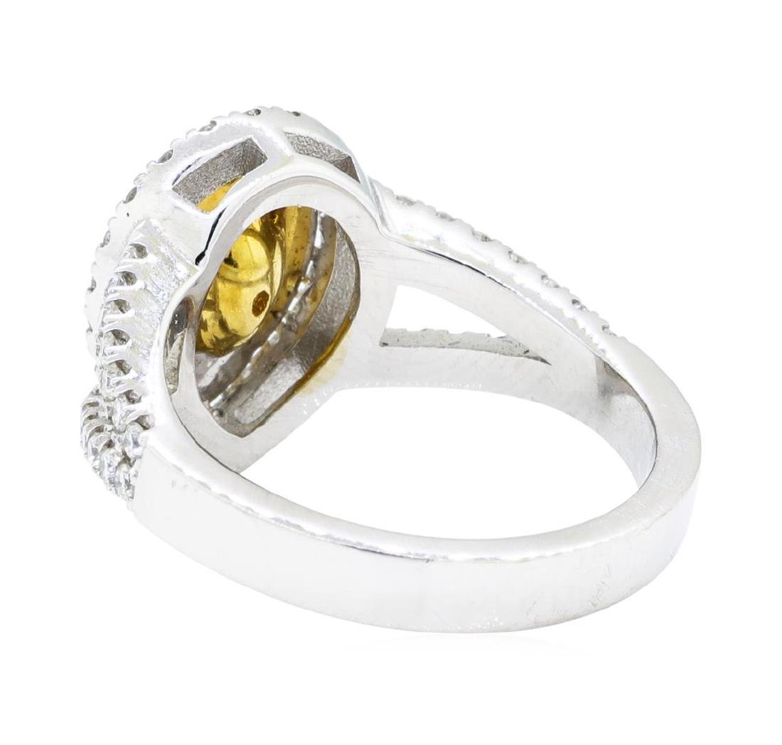 1.31 ctw Yellow and White Diamond Ring - 14KT White And - 3