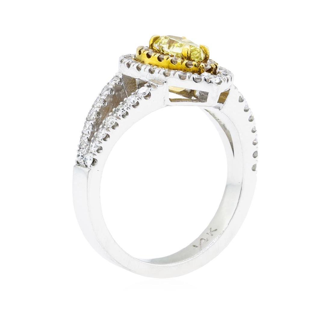 1.31 ctw Yellow and White Diamond Ring - 14KT White And - 4