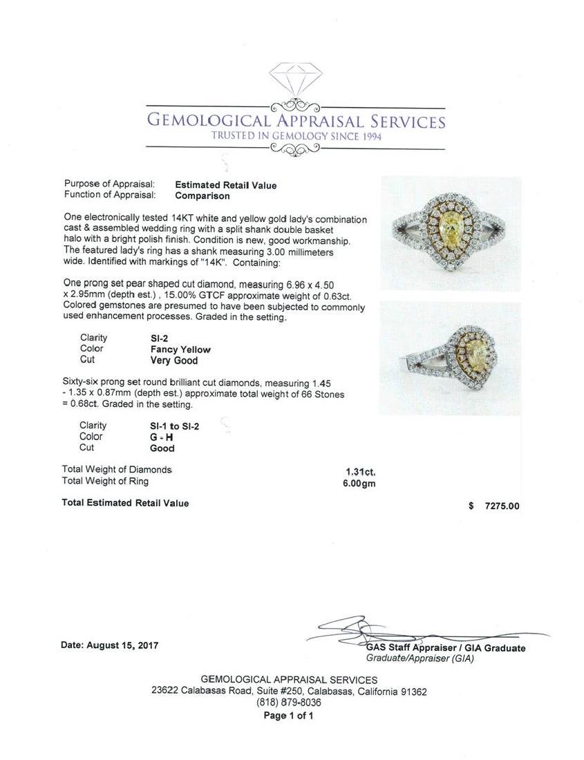 1.31 ctw Yellow and White Diamond Ring - 14KT White And - 5