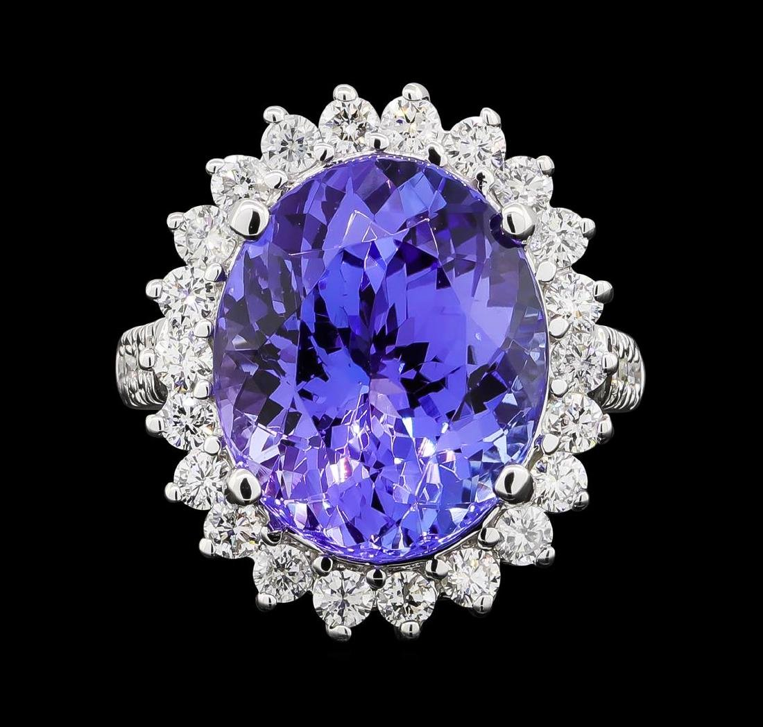 GIA Cert 11.78 ctw Tanzanite and Diamond Ring - 14KT - 2