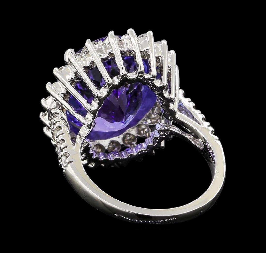 GIA Cert 11.78 ctw Tanzanite and Diamond Ring - 14KT - 3