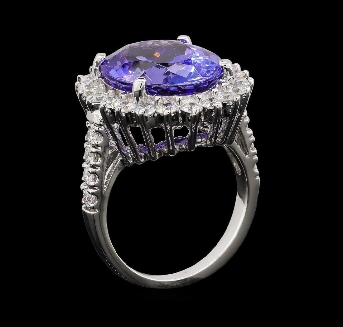 GIA Cert 11.78 ctw Tanzanite and Diamond Ring - 14KT - 4