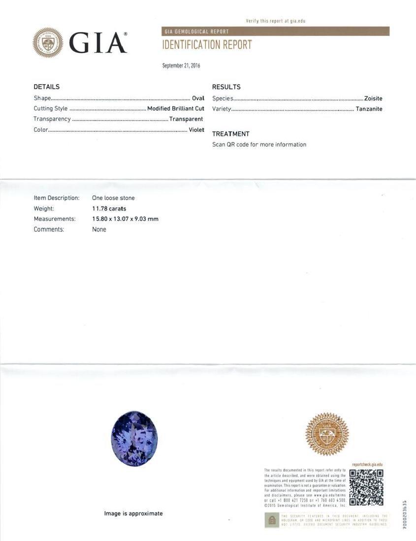 GIA Cert 11.78 ctw Tanzanite and Diamond Ring - 14KT - 6