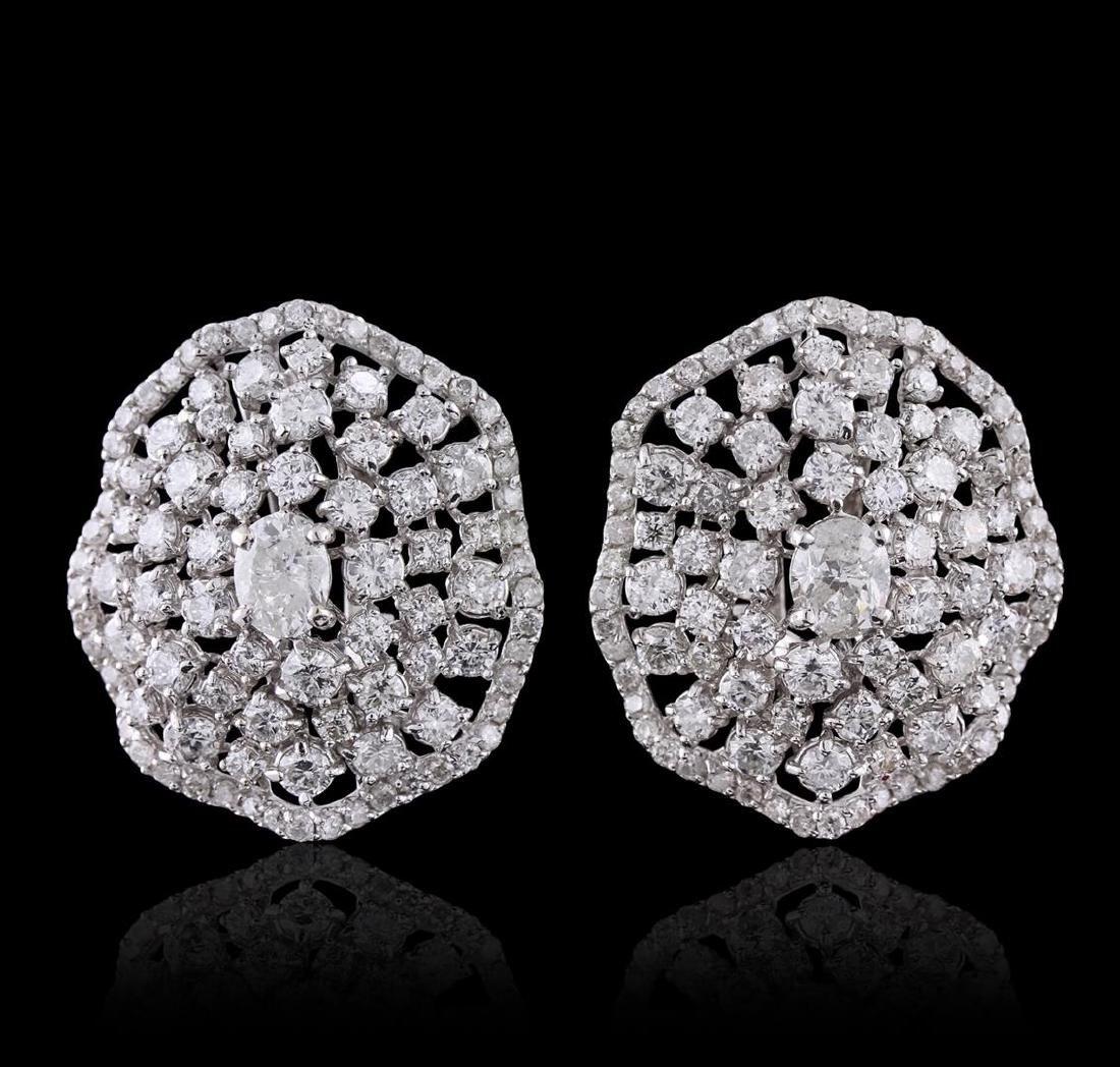 14KT White Gold 4.43 ctw Diamond Earrings - 2