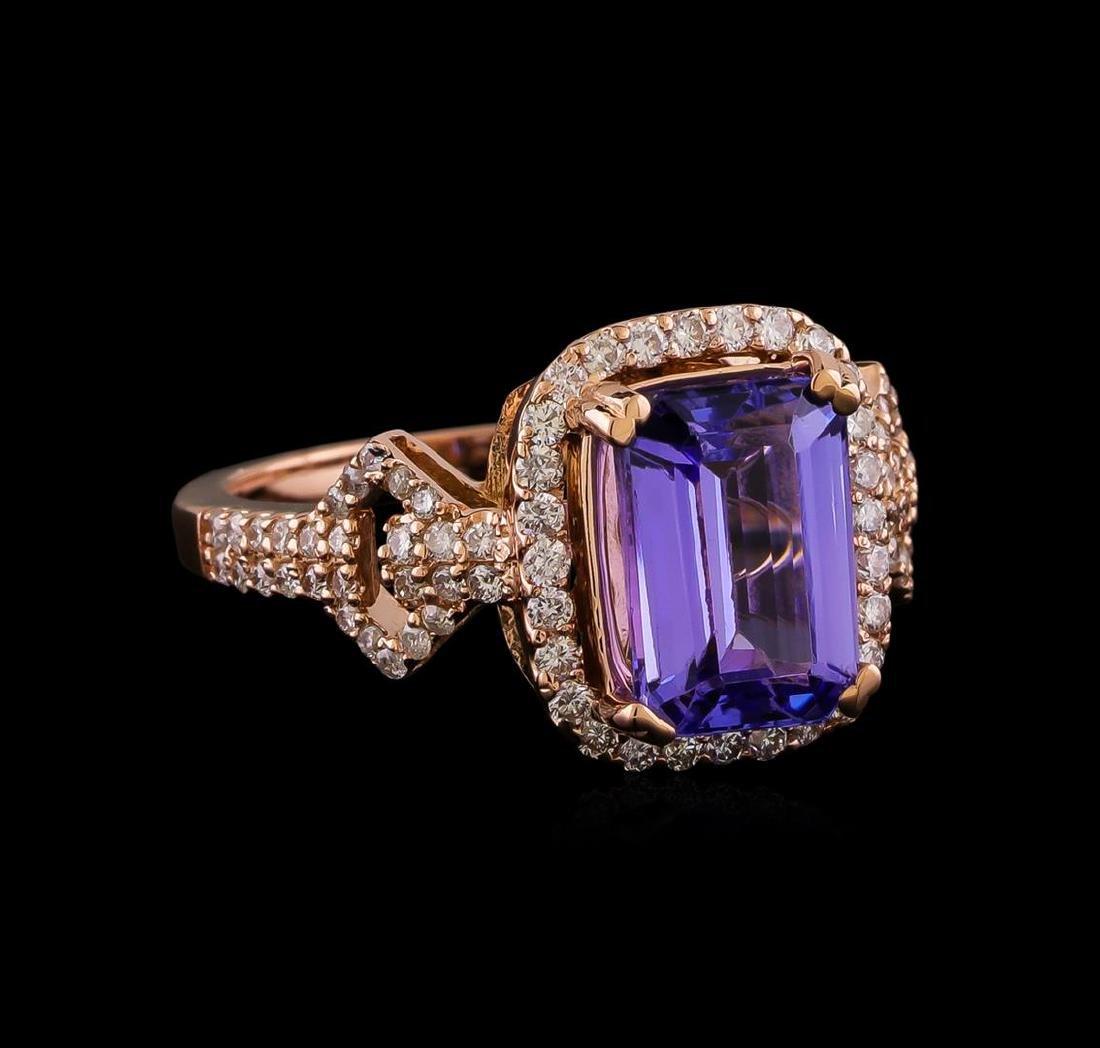 3.20 ctw Tanzanite and Diamond Ring - 14KT Rose Gold