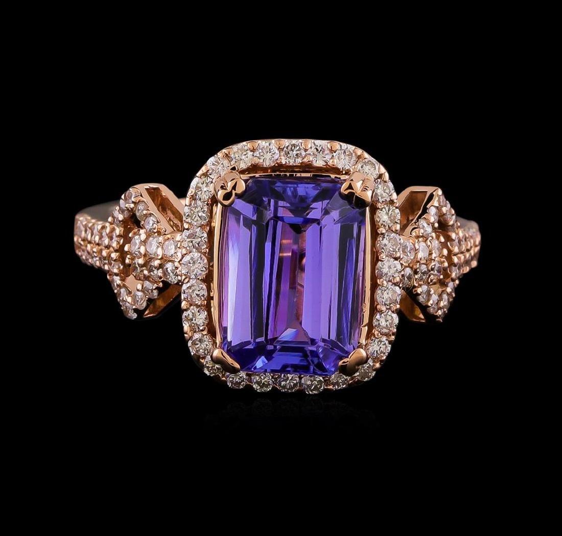 3.20 ctw Tanzanite and Diamond Ring - 14KT Rose Gold - 2