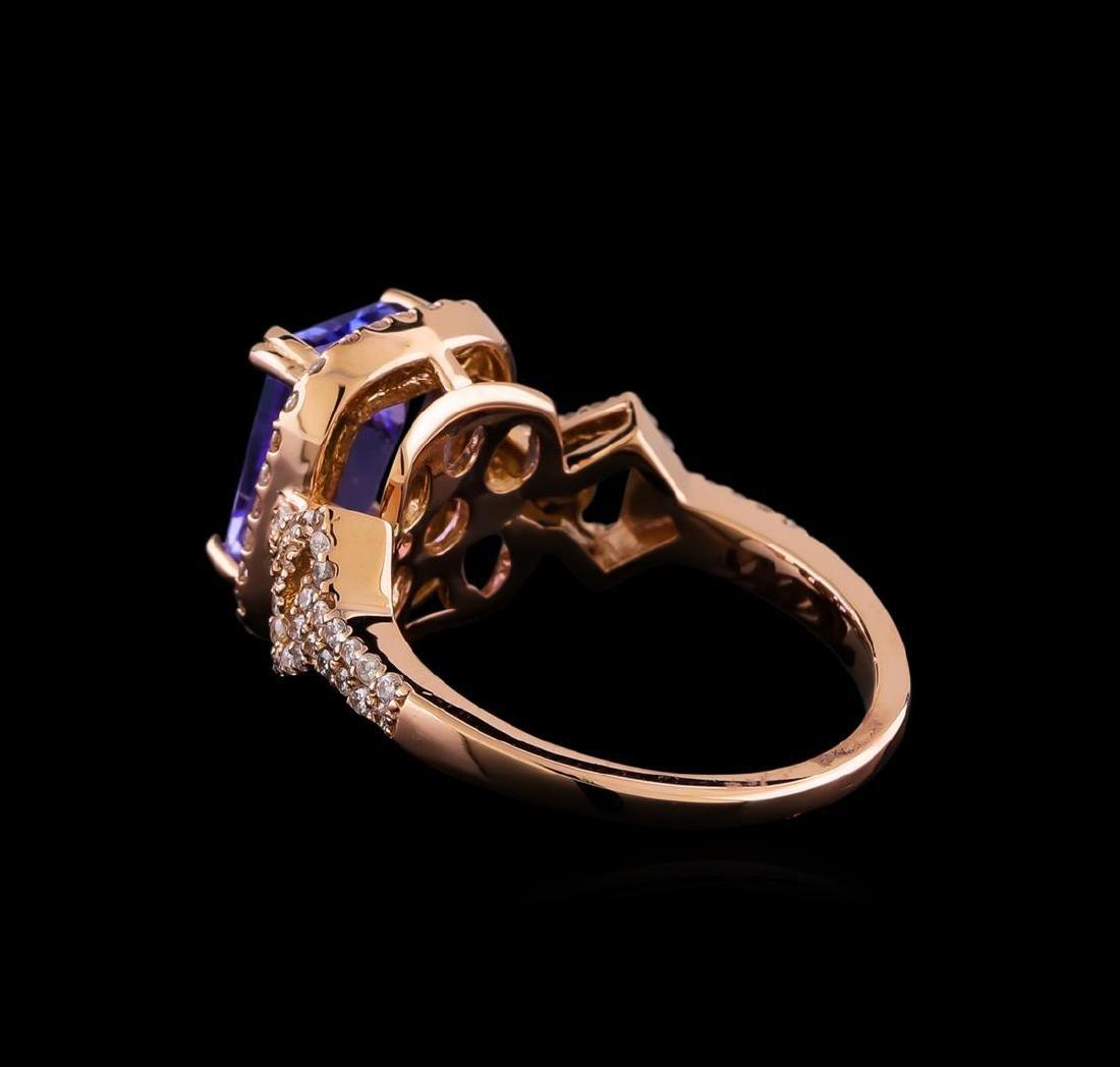 3.20 ctw Tanzanite and Diamond Ring - 14KT Rose Gold - 3