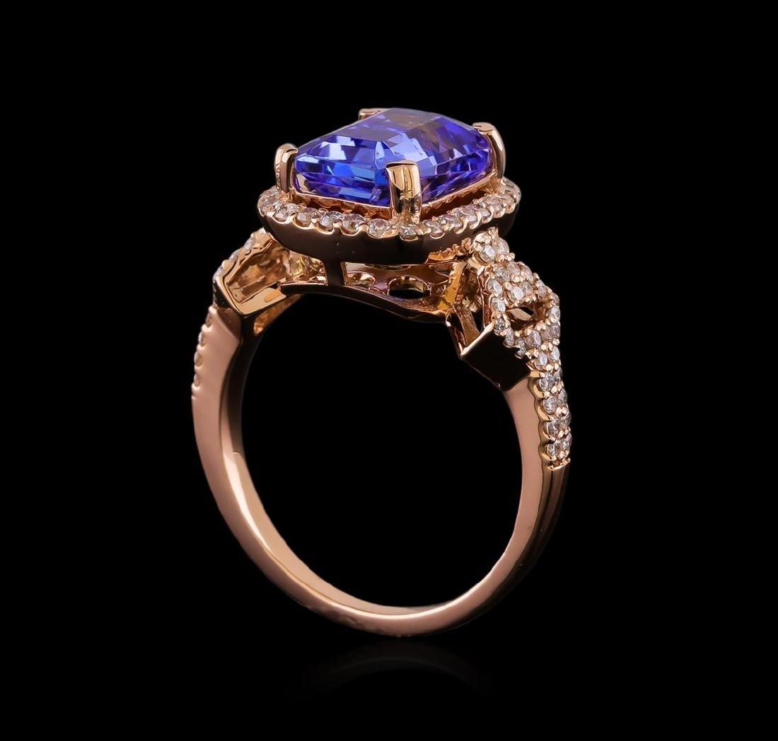 3.20 ctw Tanzanite and Diamond Ring - 14KT Rose Gold - 4