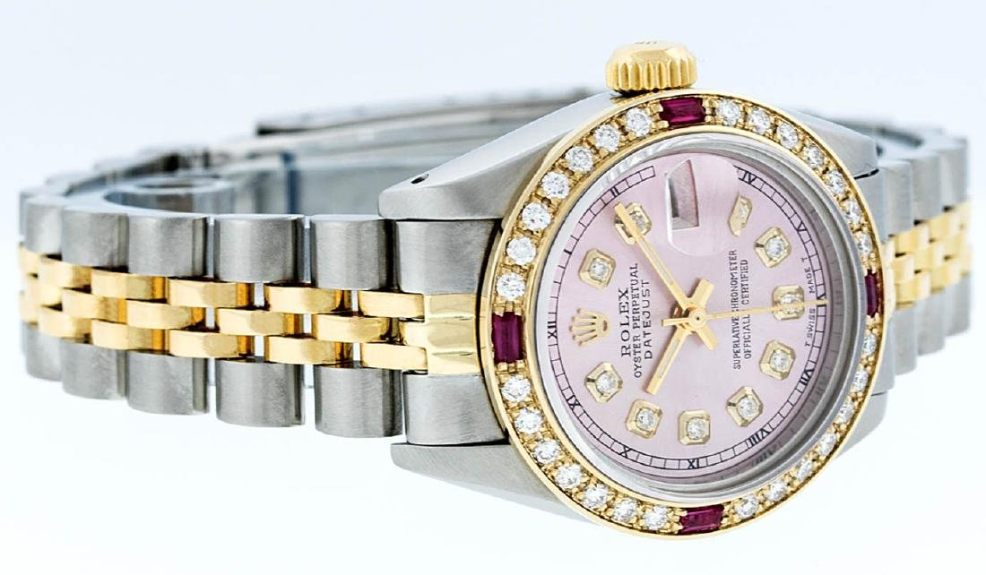 Rolex Ladies 2 Tone 14K Ice Pink Diamond & Ruby - 2