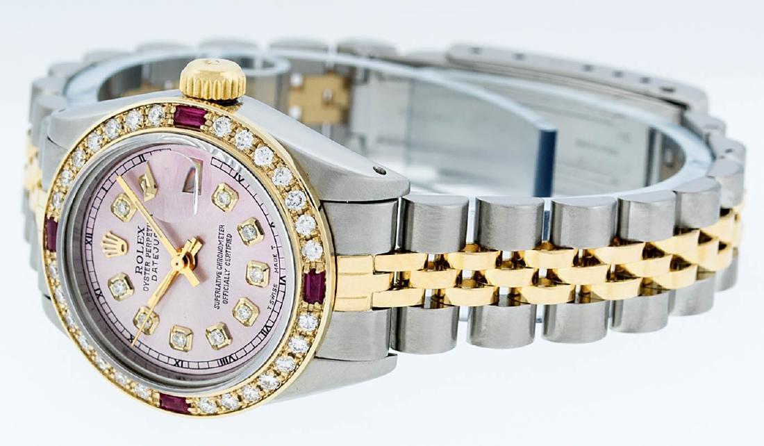 Rolex Ladies 2 Tone 14K Ice Pink Diamond & Ruby - 7