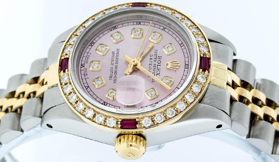 Rolex Ladies 2 Tone 14K Ice Pink Diamond & Ruby - 9