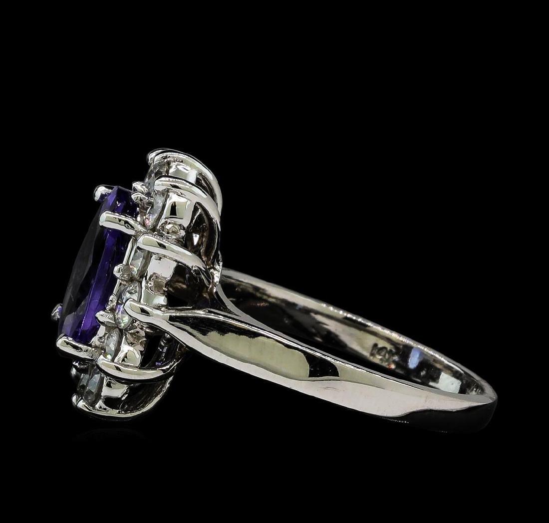 2.81 ctw Tanzanite and Diamond Ring - 14KT White Gold - 3