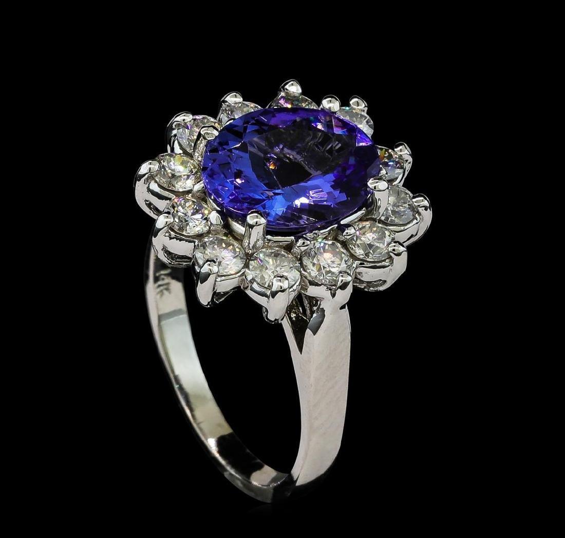 2.81 ctw Tanzanite and Diamond Ring - 14KT White Gold - 4