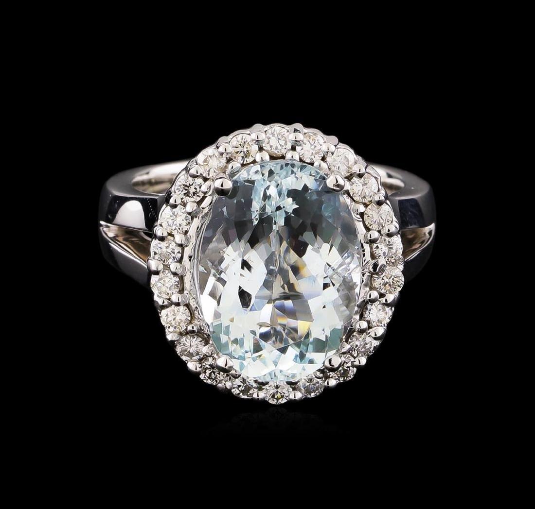 5.67 ctw Aquamarine and Diamond Ring - 14KT White Gold - 2