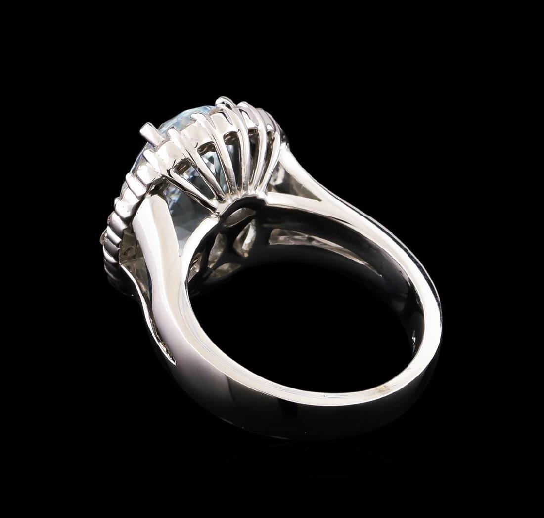 5.67 ctw Aquamarine and Diamond Ring - 14KT White Gold - 3