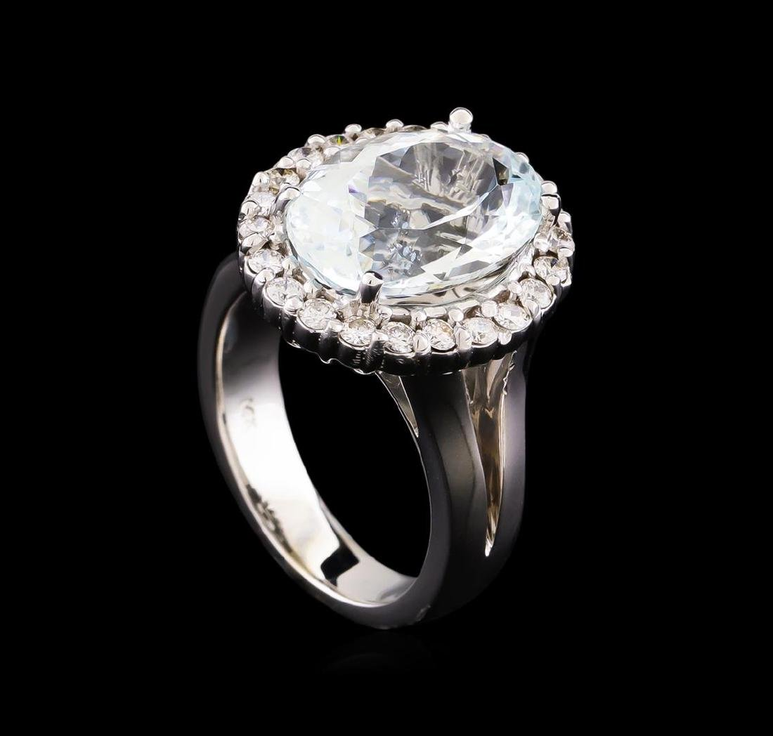 5.67 ctw Aquamarine and Diamond Ring - 14KT White Gold - 4