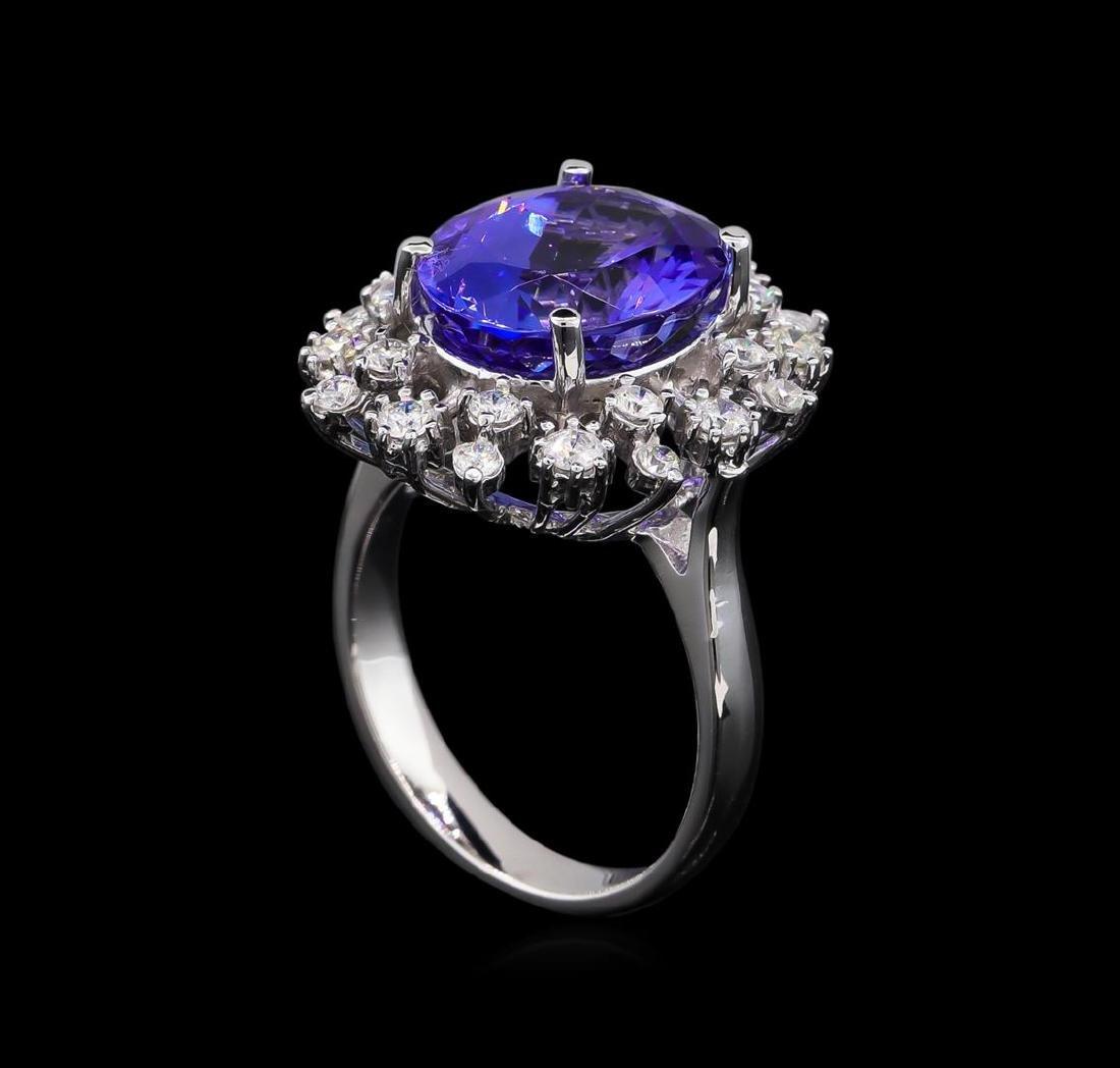 6.25 ctw Tanzanite and Diamond Ring - 14KT White Gold - 4