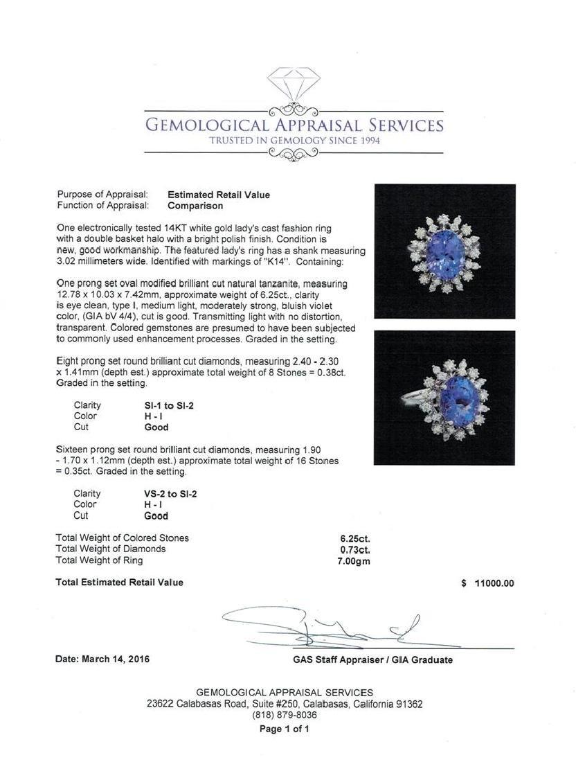 6.25 ctw Tanzanite and Diamond Ring - 14KT White Gold - 5