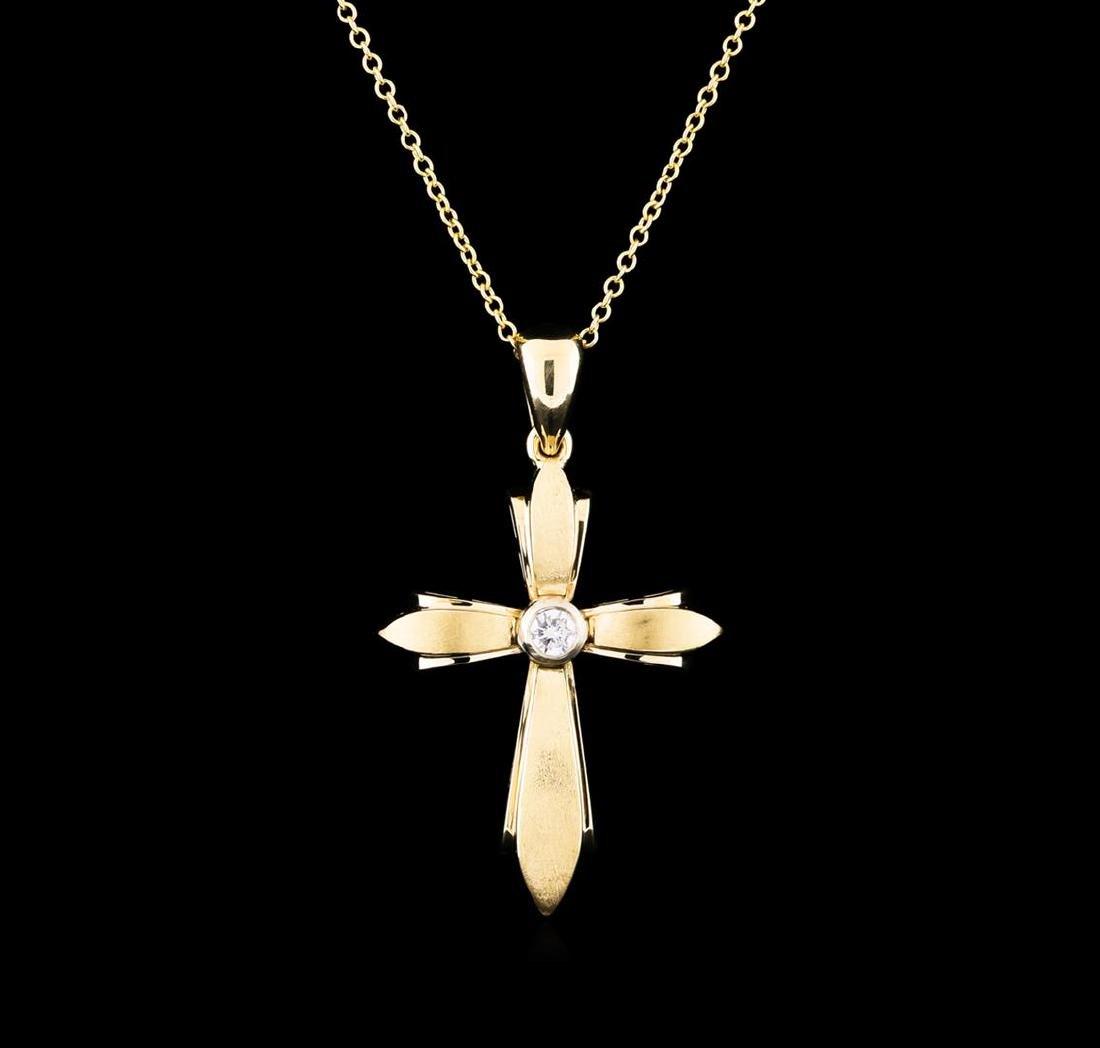 0.12 ctw Diamond Cross Pendant With Chain - 14KT Yellow