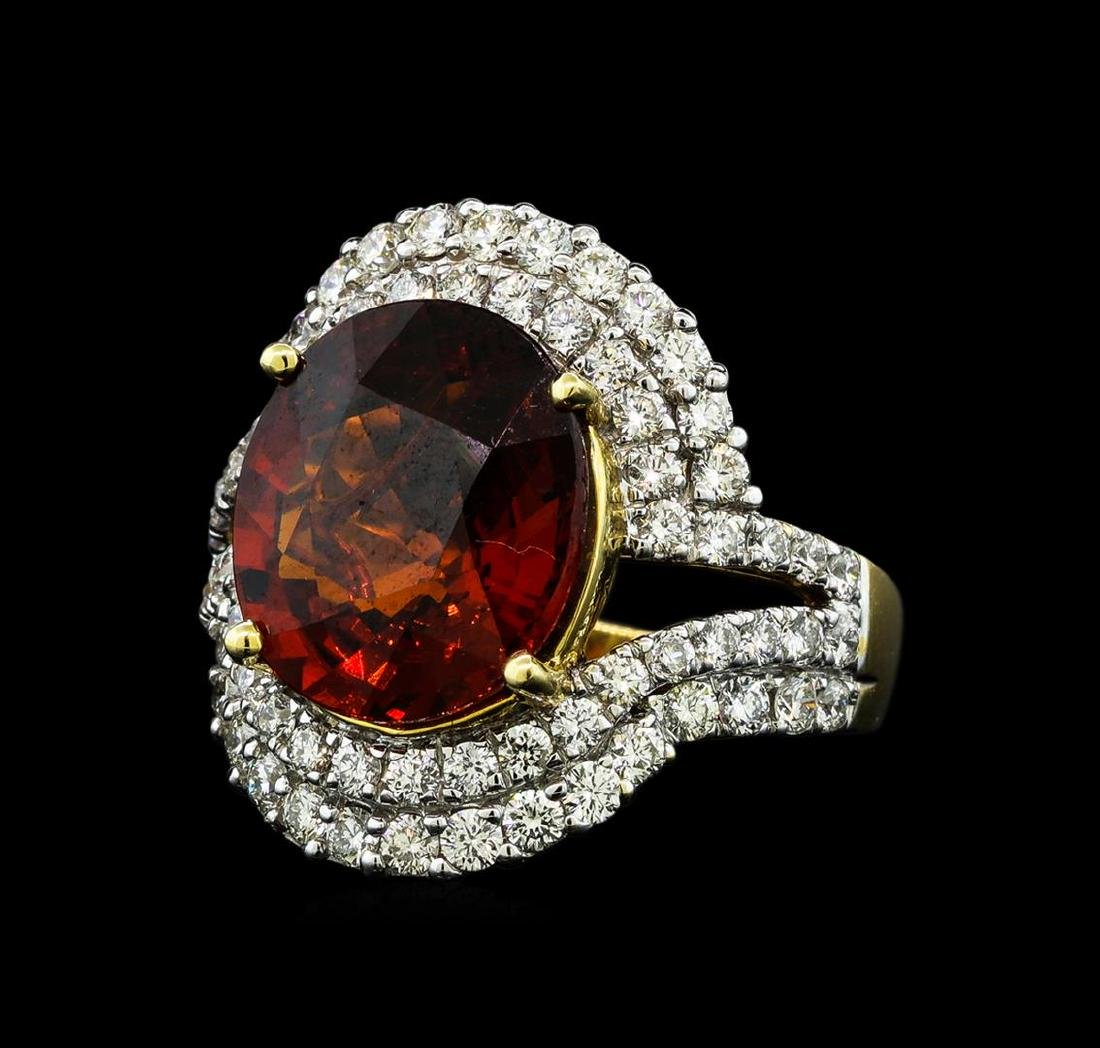 7.50 ctw Malaya Garnet and Diamond Ring - 14KT Yellow