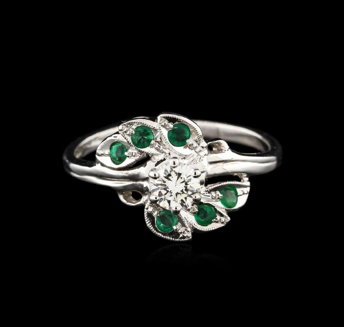 0.40 ctw Diamond and Emerald Ring - 14KT White Gold - 2