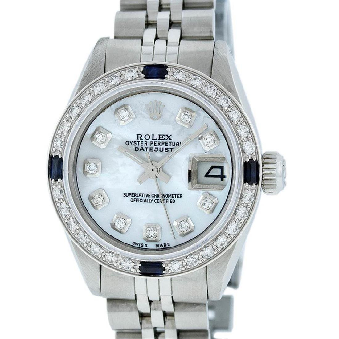 Rolex Ladies Stainless Steel Mother Of Pearl Diamond &