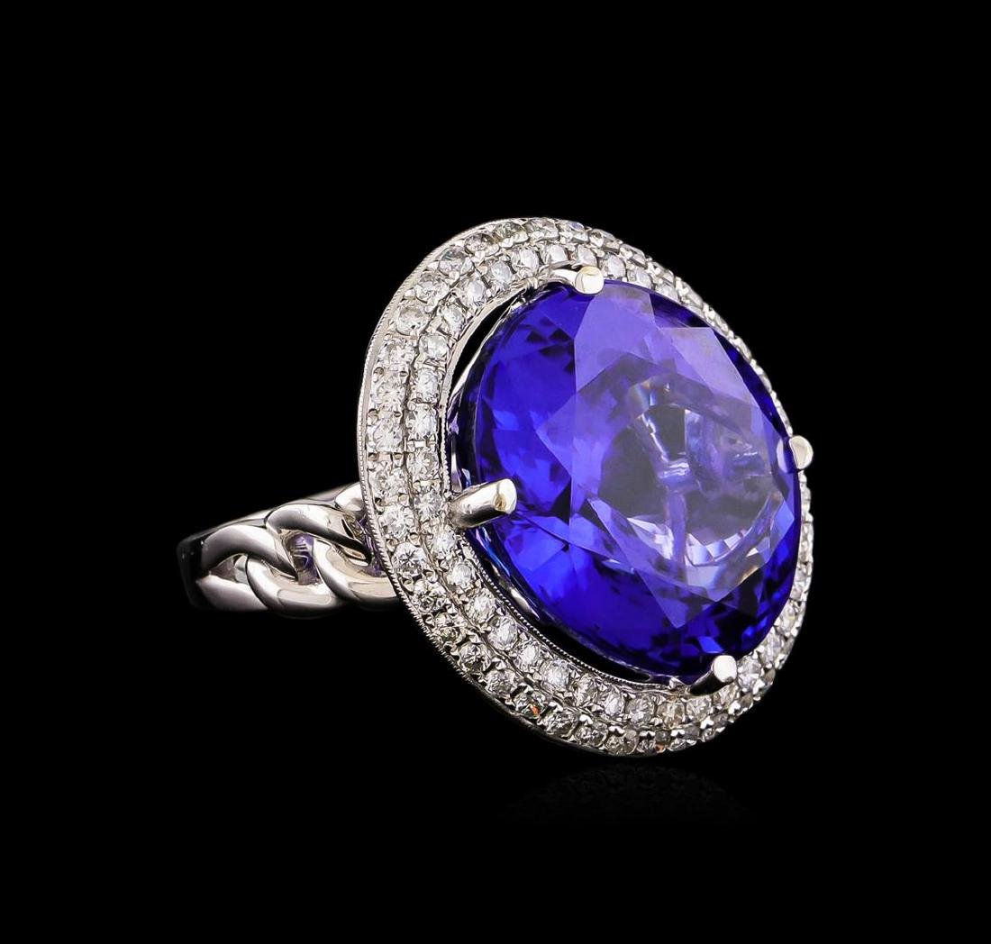 18KT White Gold GIA Certified 30.19 ctw Tanzanite and