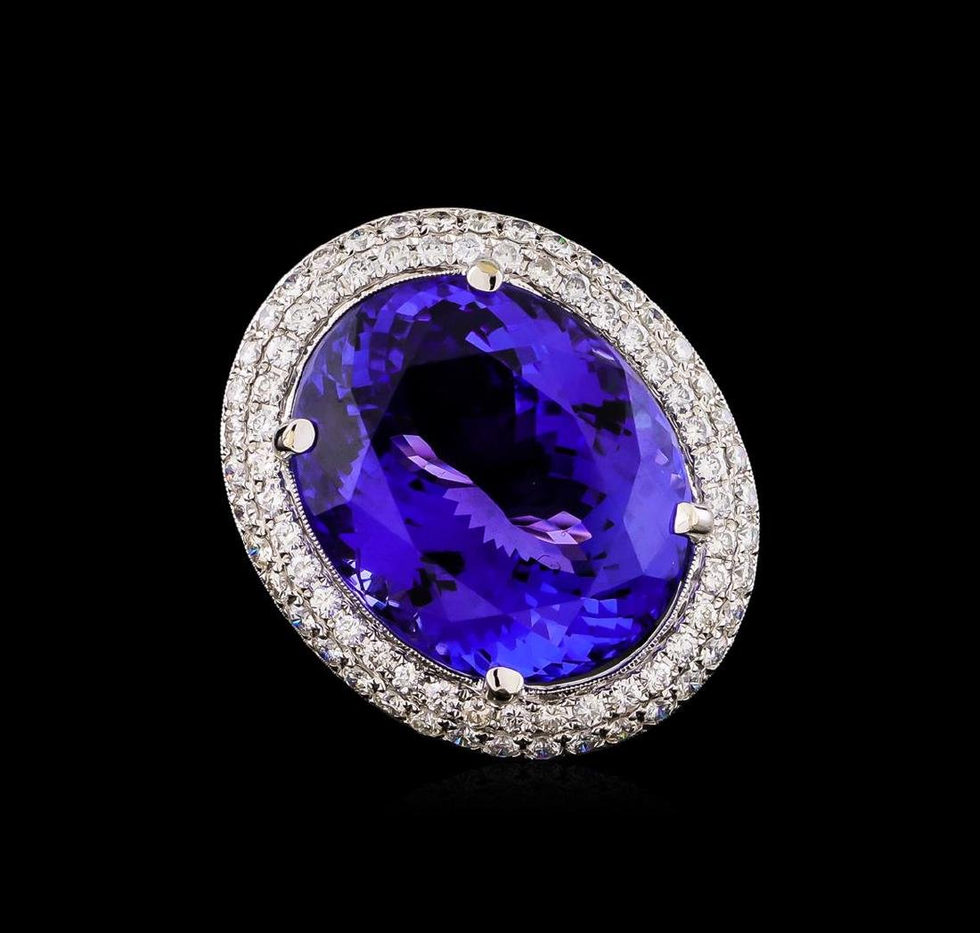 18KT White Gold GIA Certified 30.19 ctw Tanzanite and - 2