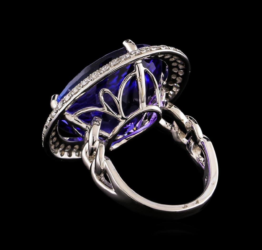 18KT White Gold GIA Certified 30.19 ctw Tanzanite and - 3